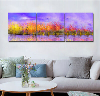 Watercolor Trees River 3 Panel Canvas Print Art Oil Painting Wall Decor No Frame