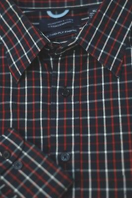 Roundtree & Yorke Men's Navy Red & White Check Cotton Casual Shirt XLT XL Tall