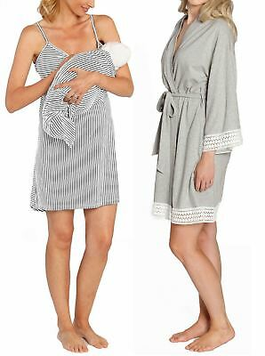Nursing Dress + Robe + Free Baby Blanket Wrap - Light Grey Hospital Pack