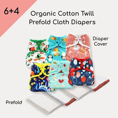 KaWaii 6 One Size Diaper Covers 4 Dozen Cotton Prefold Cloth Diapers 8-36 lbs