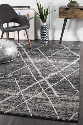 Charcoal Black Modern Rug Large Designer Floor Rug All Sizes Available Icon 452