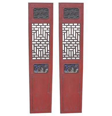 A Stunning Pair Of Antique Chinese Carved Wood Temple Doors - Mid 19Th Century