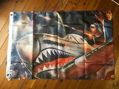 P51 p49 mustang fighter printed  poster man cave flag wallhanging us Air Force