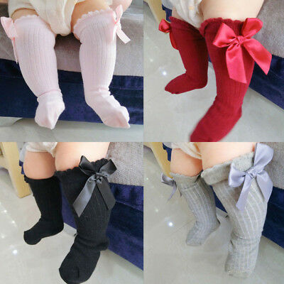 Girls Baby Toddlers Knee High Socks Kids Bows Tube Solid Long Soft Cotton Socks