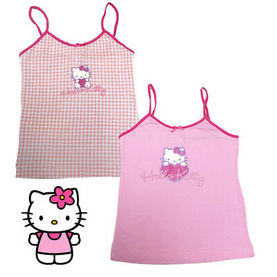 2 HELLO KITTY Girls licensed PINK Singlet Tee shirt Tops size 7-8 9-10 11-12 yrs
