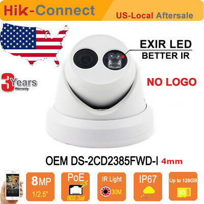 HIKVISION 8MP OEM DS-2CD2385FWD-I HD PoE EXIR Turret IP Camera 3-Axis 4MM