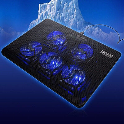 Gaming 5 Fans LED USB Cooling Stand Pad Cooler For 12''-17'' Laptop Notebook