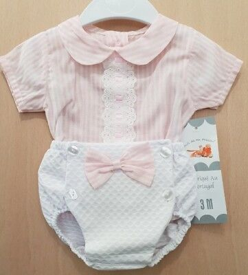Baby Girl Pink and White Spanish Style Jam Pants and Top Set / Outfit