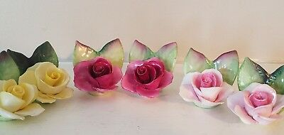 Crown Staffordshire set of 6 Porcelain Roses fine bone china Place Card Holders