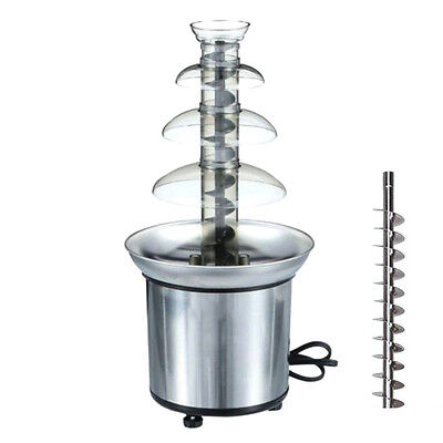 4 Tiers Stainless Steel Hot  Luxury Chocolate Fountain Fondue Commercial Tool~