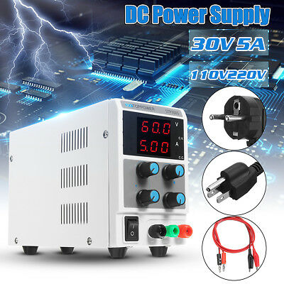 Adjustable 0-30V 0-5A Variable Dual Digital Regulated DC Power Supply Lab Grade