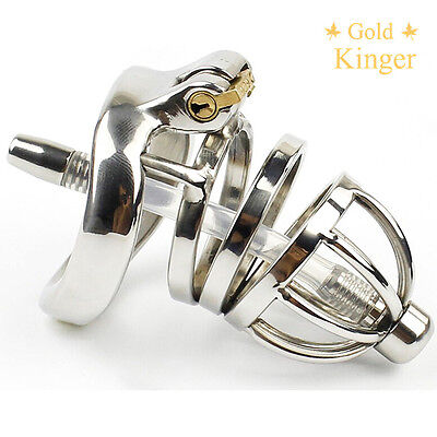 Male Chastity Device Stainless Steel Chastity Cage Lock With A Tube  A275-1
