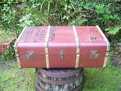 Antique Banded Steam Liner Cabin Trunk / Chest / Luggage From Western Australia