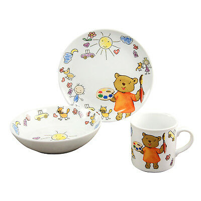 kinder geschirr set porzellan elefant 3 teili teller schale tasse box kinderset eur 19 80. Black Bedroom Furniture Sets. Home Design Ideas