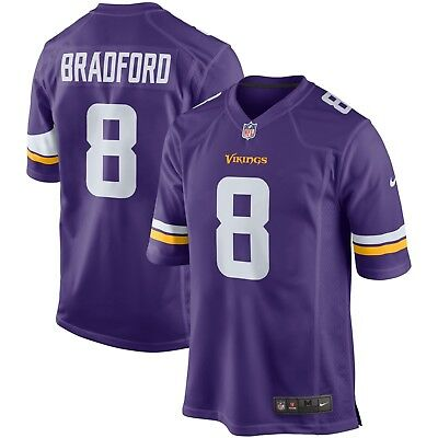 Mens SMALL Nike MINNESOTA VIKINGS Game Jersey SAM BRADFORD NFL Shirt Home B