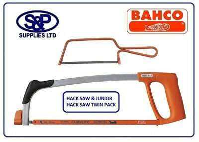 "TWIN PACK Bahco 317 Pro 12"" 300mm Hacksaw & 239 Junior Mini 6"" 150mm Metal Saw"