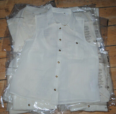 Job Lot Ladies Clothing 25 x Cream Mesh Button Up Vest Top Mixed Sizes NEW + BAG