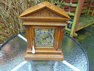 Winterhalder & Hoffmeier W&H Antique Honey Oak TING TANG Bracket Mantle Clock.