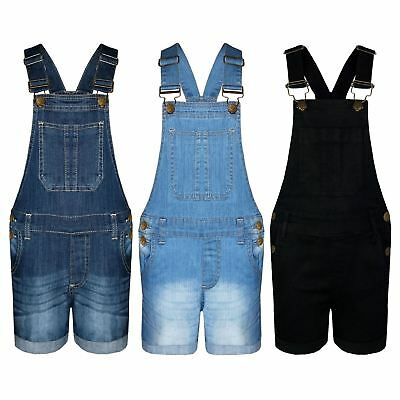 Kids Girls Denim Stretch Dungaree Shorts Jumpsuit Playsuit All In One 7-13 Years
