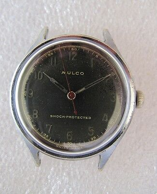 Rare vintage Mulco WWII hand winding military men's watch 1940's black dial