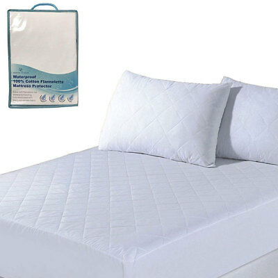 100% Cotton Flannel Waterproof Quilted Mattress Pillow Protector Anti-Allergy