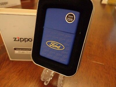 Ford Collage Blue Matte Zippo Lighter Mint In Box
