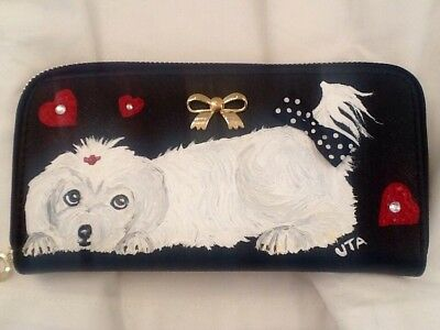 Maltese Dog Hand Painted Wallet Handbag Purse Clutch artbyuta