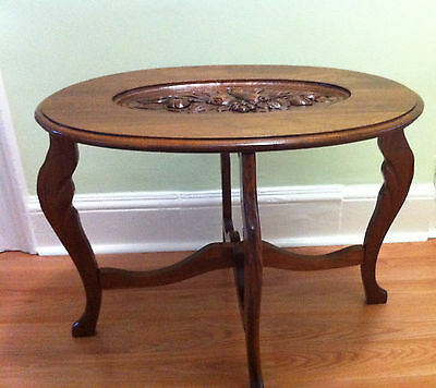 Vintage, Antique Oval Walnut Coffee Table With Carved Top