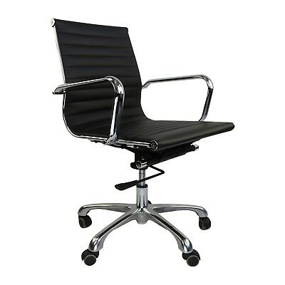 Ribbed Management Office Chair, Mid Low Back Eames Style, Aluminum Group Desk