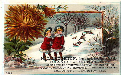 1880s, N. J. Laughton, Kranich and Back pianos TRADE CARD, Lewiston, Maine