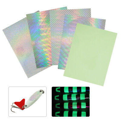 5/10pcs Holographic Adhesive Film Flash Tape Fly Fishing Lure Stickers 7.3*10cm