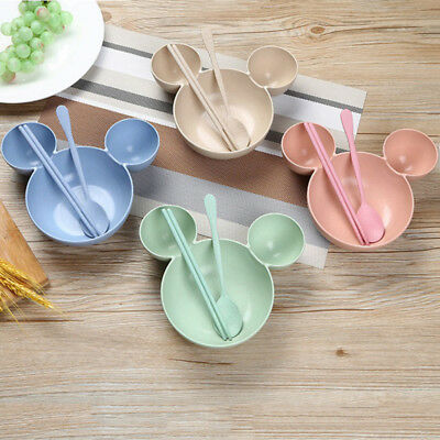 4PC Wheat Straw Children Plate Mickey Mouse Bowl Spoon Fork Chopstick Tableware