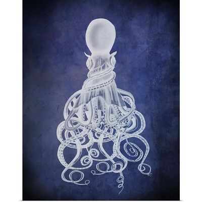 Poster Print Wall Art entitled Octopus, Twisted White on Blue