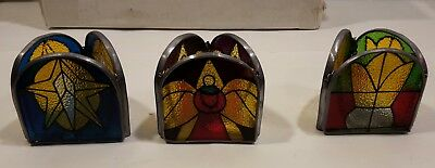 Light Cover Stained Glass Triangle Religious Vintage Set of 6 NIB