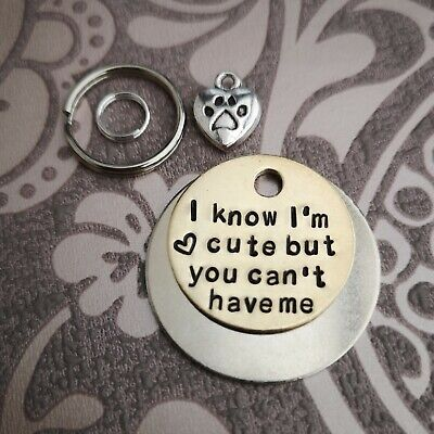 I know I'm cute dog tag - handmade stamped pet tags dog cat horse bridle