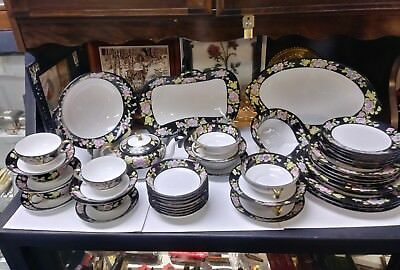 Antique Noritake Nippon Morimura Pink/yellow/blue Floral Black Band 47 Pieces