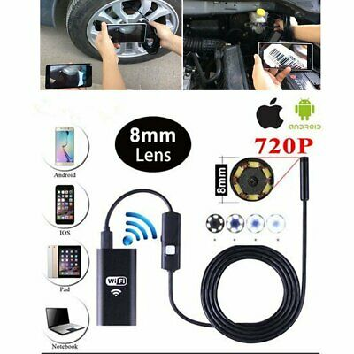 For Android iPhone WIFI Endoscope Waterproof Borescope Inspection Camera 8 LED