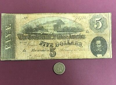 1864 $5 Confederate States Of America & A Civil War Dated Coin FREE SHIPPING!