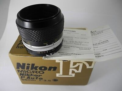 Nikon Micro-NIKKOR-PC 55mm f3.5 Manual  NON AI  Lens BOXED WITH PAPERS PERFECT