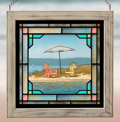 Summer Colors 2 Beach Chairs Stained Glass Beach Window Decor Fade Resistant