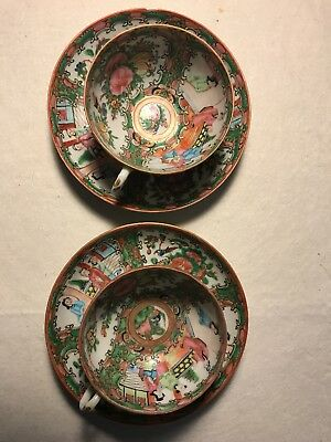 Antique Chinese Porcelain Famille Rose Medallion Mandarin 2 Cups & 2 Saucers