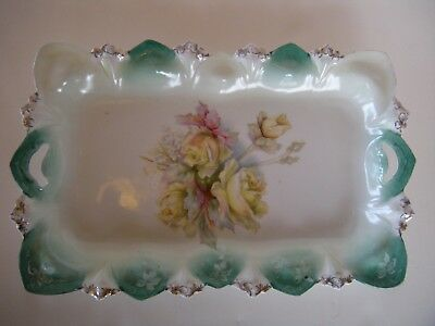 Antique DRESSER TRAY ROSES GREEN GOLD~RS PRUSSIA~rectangle mold E/C