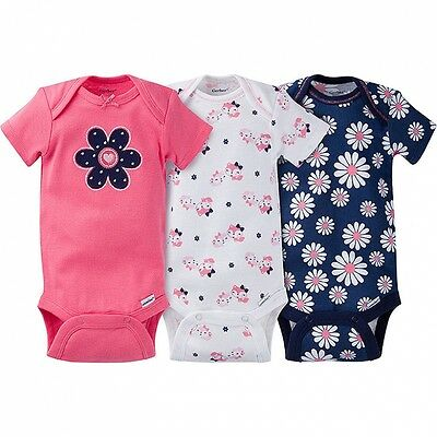 Gerber Baby Girls 3 Pack Onesies NEW Bodysuits Daisy Fox Various Sizes