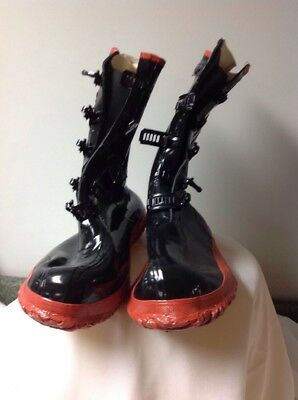 Galoshes Black 5-Buckle Over Shoe Rubber Boots Size 16   **** New ****