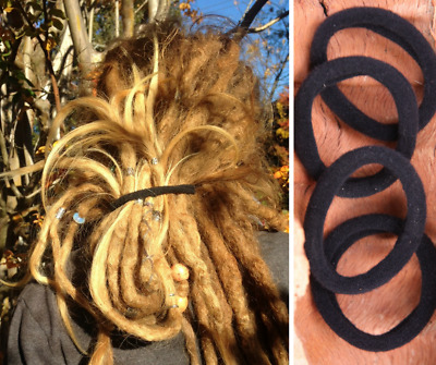 Dreadlock Elastics | Black | Thick Strong Dread Ties | Large Hair Bands Set Of 4