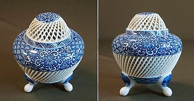 Fine Japanese Reticulated Open Work Woven Incense Burner Signed Kin Ho Gama