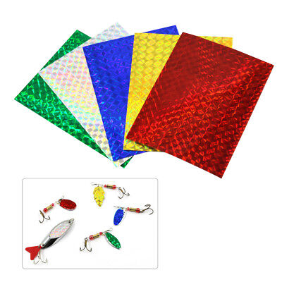 7.3*10cm Holographic Adhesive Film Flash Tape Fly Fishing Lure Stickers 10pcs