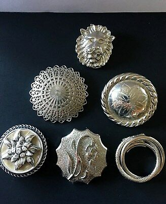 Vintage Scarf Clip Ring Lot of 6 Pcs Silver Tone Lion Floral Western Germany