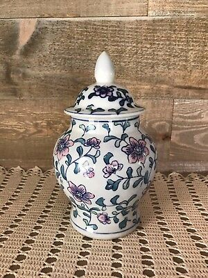 Ginger Jar with Lid Flower Design White Pink Blue and Green Vintage