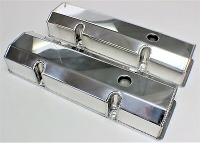 Chev Small Block Fabricated Alloy Rocker Covers Polished Finish + Bolts Sbc 350